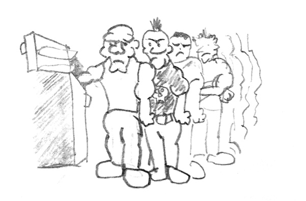 Artist's Depiction - Thugs Lined Up Everywhere With Their Hands in Freezers